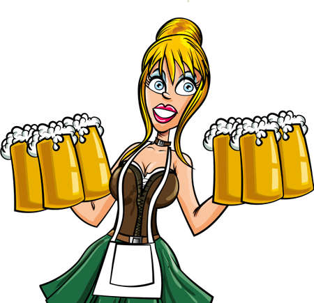 barmaid: Cartoon Bavarian bard maid. Isolated on white Illustration