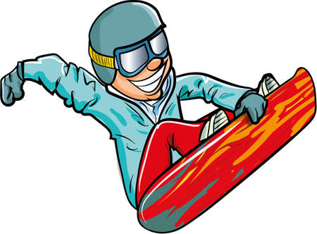 Cartoon snowboarder in the air. isolated