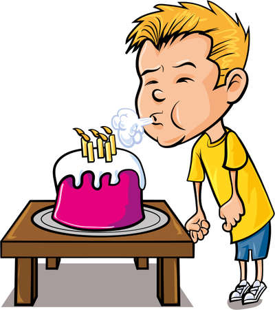 Cartoon little boy blowing out candles. Isolated on white