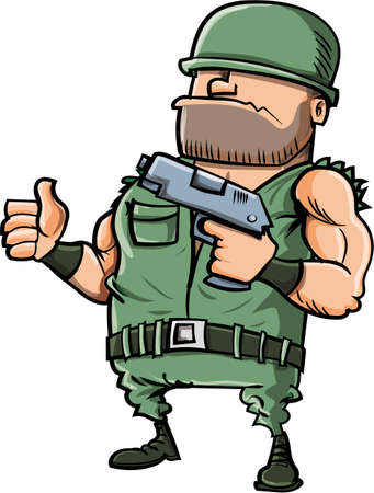 Cartoon soldier giving a thumbs up. Isolated