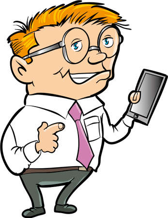 hand held: Cartoon nerd with hand held computer. Isolated Illustration
