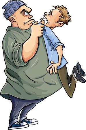 bullying: Cartoon Bully intimidating a man. Isolated