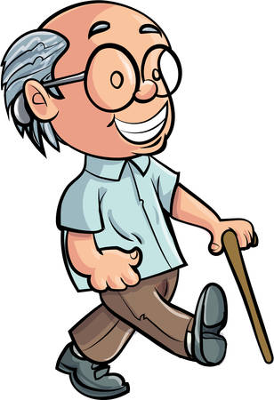 pensioner: Cartoon Grandfather walking with a stick. Isolated