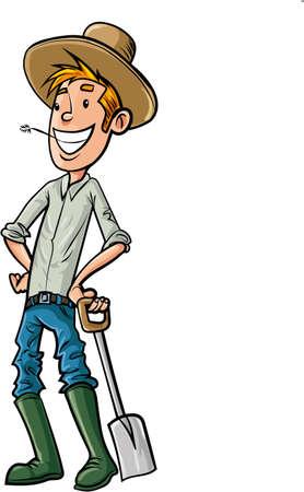 cartoon mensen: Cartoon Farmer met hoed en spade. Geïsoleerd