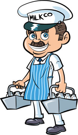 wholesome: Cartoon Milkman delivering milk. Isolated
