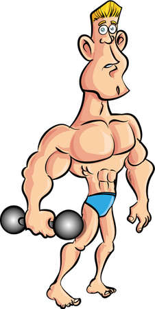 stupid body: Cartoon muscleman with a dumb bell. Isolated Illustration