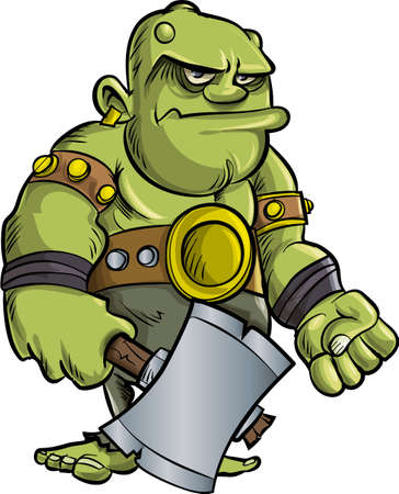 Cartoon ogre with a big axe.Isolated Çizim