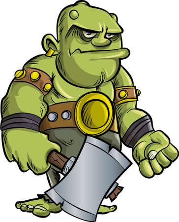 the villain: Cartoon ogre with a big axe.Isolated Illustration