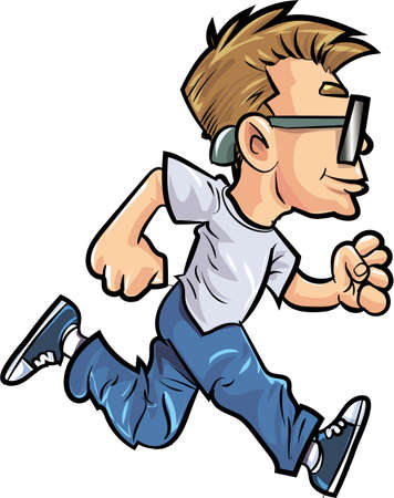 running fast: Cartoon running man with glasses. Isolated