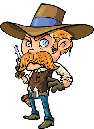 Cute cowboy cartoon with mustache. Isolated Illustration
