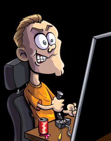 Cartoon teen playing computer game with a joystick