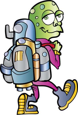 Cartoon alien jetpack user. Isolated Stock Vector - 27532556