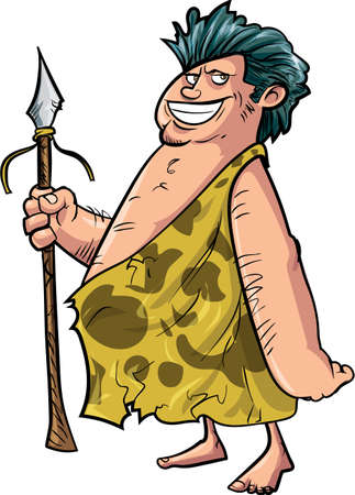 stone age: Cartoon caveman with a spear. Isolated on white