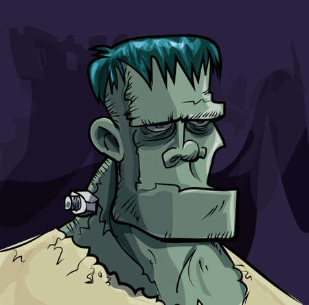 Cartoon Frankenstein monster head on dark background