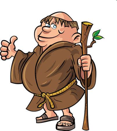 moine: Cartoon moine tenant un b�ton isol� sur blanc