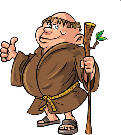 monk: Cartoon monk holding a stick Isolated on white