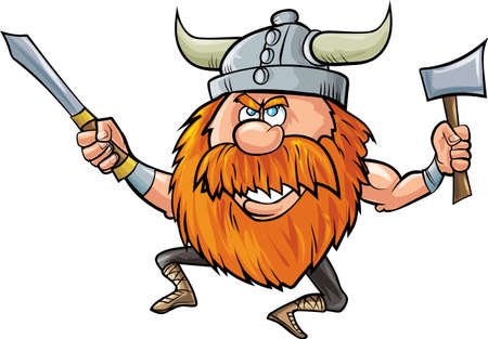 viking helmet: Jumping cartoon viking with sword and axe Isolated on white Illustration