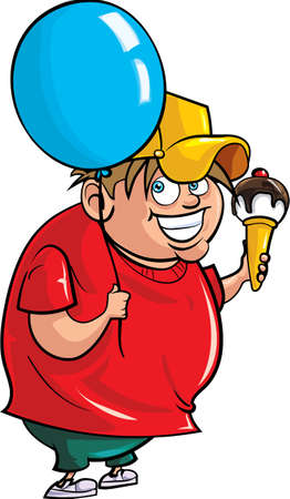 stocky: Cartoon overweight boy with balloon and ice cream