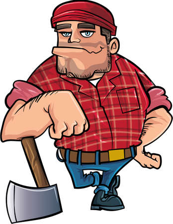 hefty: Cartoon lumberjack holding an axe. Isolated on white