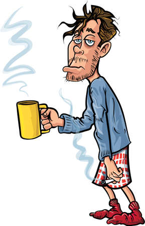 Cartoon youth who has just woken up. He has coffee and a cigarette