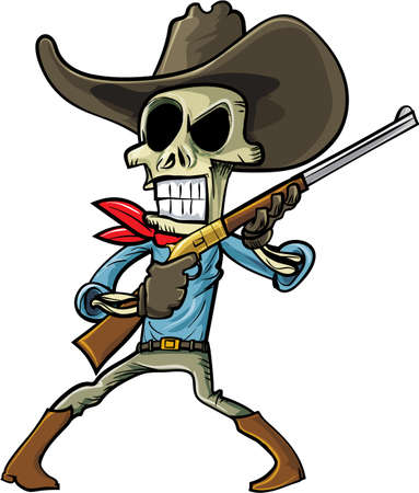 rustler: Cartoon skeleton cowboy with a gun. Isolated on white Illustration