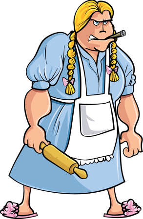 Cartoon angry woman with rolling pin.