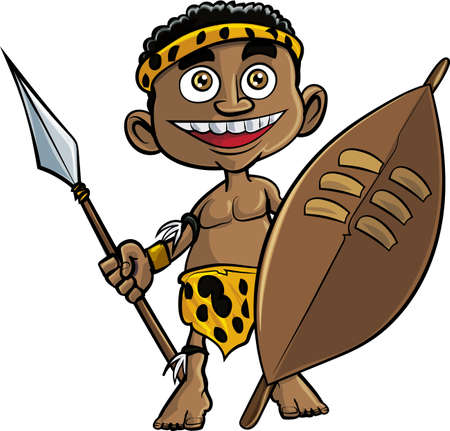 Cute cartoon zulu warrior. Isolated on white