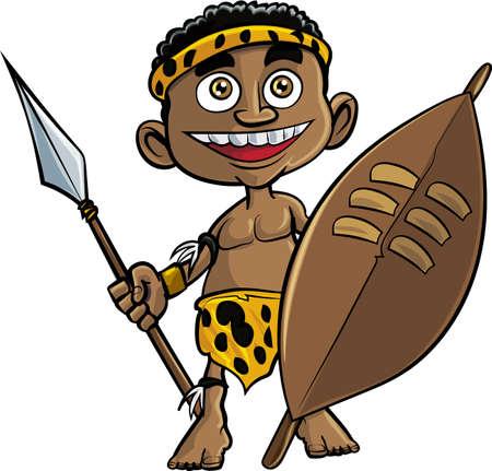 tribu: Guerrero zulú lindo de la historieta. Aislados en blanco