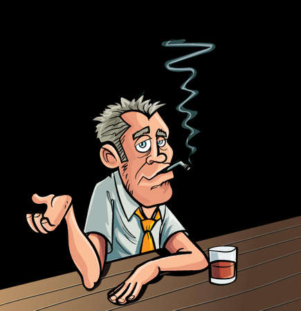 caucasian men: Cartoon smoker sitting at a bar with a drink