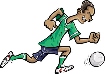 kick out: Cartoon soccer player chasing a football