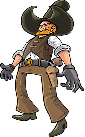 revolver: Cartoon cowboy ready to draw his gun. Isolated