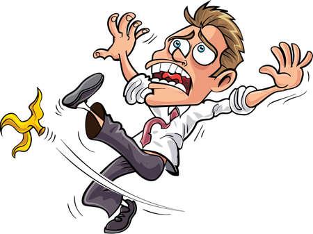 Cartoon zakenman uitglijden over een bananenschil. Geïsoleerd