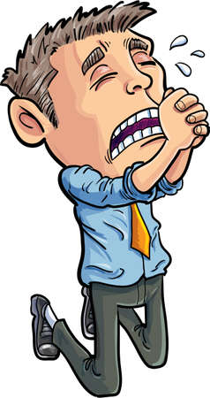 begging: Cartoon office worker begging for his job. Isolated Illustration