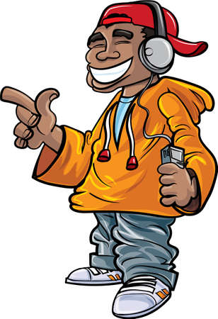 adolescent african american: Cartoon hip hop fan with earphones and a mini player