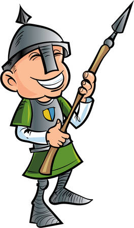 spearman: Cartoon friendly spear holder with helmet. Isolated Illustration