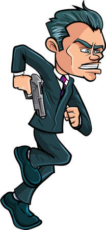 slick: Cartoon running spy in a suit with a gun  Isolated