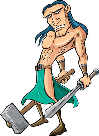 strong arm: Cartoon barbarian with sword and hammer  Isolated
