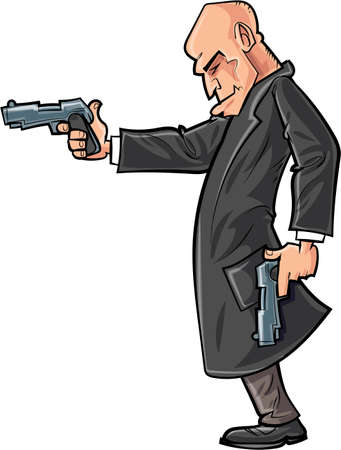 assassin: Cartoon bald gun man pointing his gun  Isolated