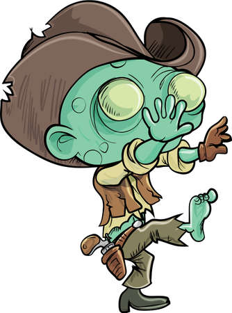 reanimated: Cute cartoon zombie cowboy  Isolated on white Illustration