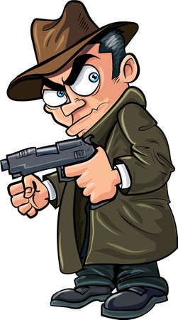 Cartoon gangster with a gun and hat  Isolated