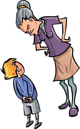 scold: Cartoon teacher scolding a child  Isolated