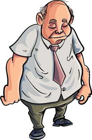 miserable: Cartoon overweight man looking very sad  Isolated on white