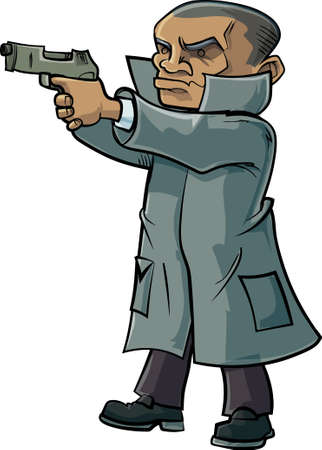 fbi: Cartoon secret agent with a trench coat and gun. Isolated Illustration
