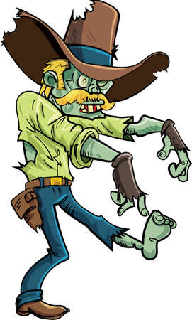 Cartoon stalking zombie with a big hat and moustache.Isolated on white Illustration
