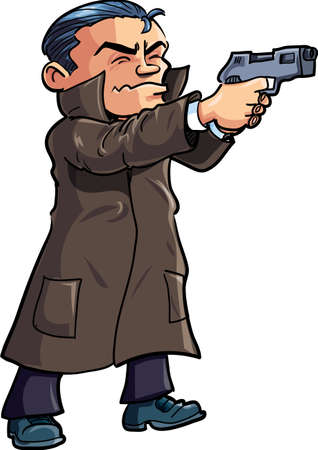 secret service: Cartoon agent in a coat with a gun. Isolated on white