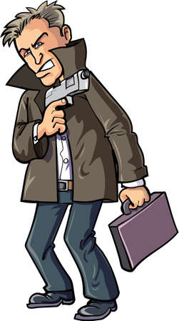threaten: Cartoon agent with gun and suitcase. Isolated on white Illustration