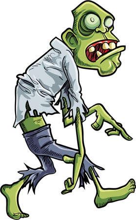 stalking: Cartoon stalking zombie with big eyes. Isolated on white