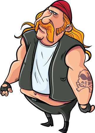 Cartoon fat biker with tatoo. Isolted on white Vector