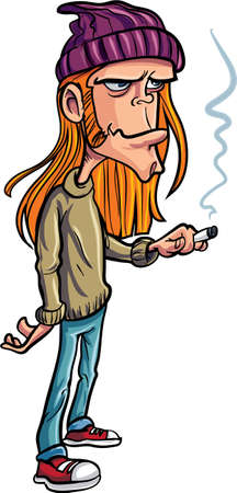 redhair: Cartoon loser with long hair smoking. Isolated Illustration