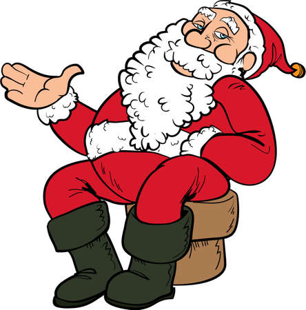 fictional character: Cartoon Santa sitting on a chair. Isolated on white
